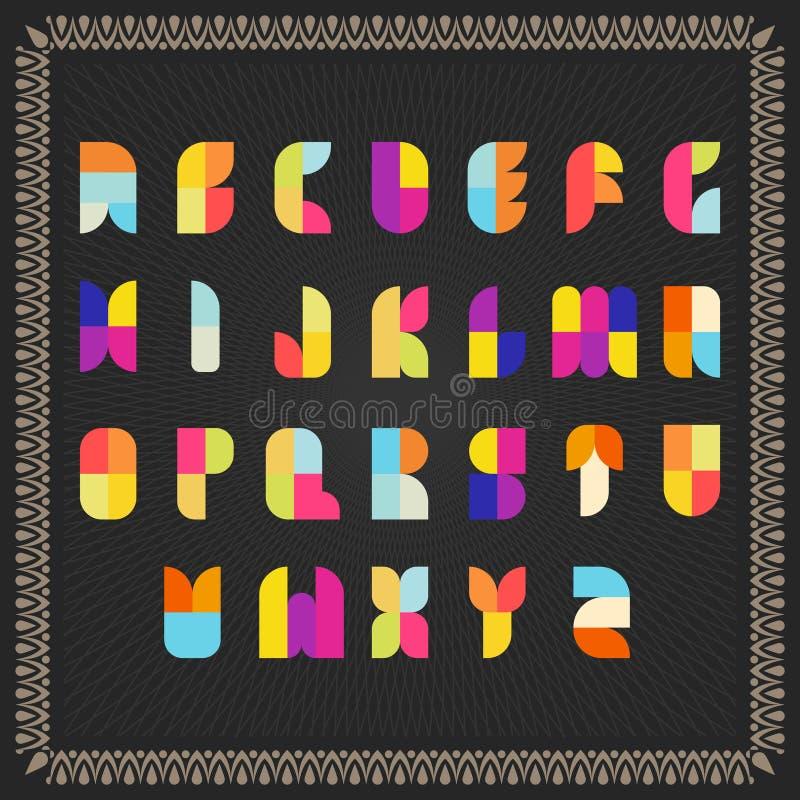Διανυσματικό αλφάβητο χρώματος σε ένα πλαισιωμένο μαύρο υπόβαθρο στοκ φωτογραφίες