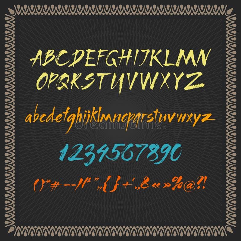 Διανυσματικό αλφάβητο χρώματος σε ένα πλαισιωμένο μαύρο υπόβαθρο στοκ εικόνα