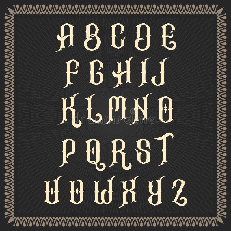 Διανυσματικό αλφάβητο χρώματος σε ένα πλαισιωμένο μαύρο υπόβαθρο στοκ εικόνες