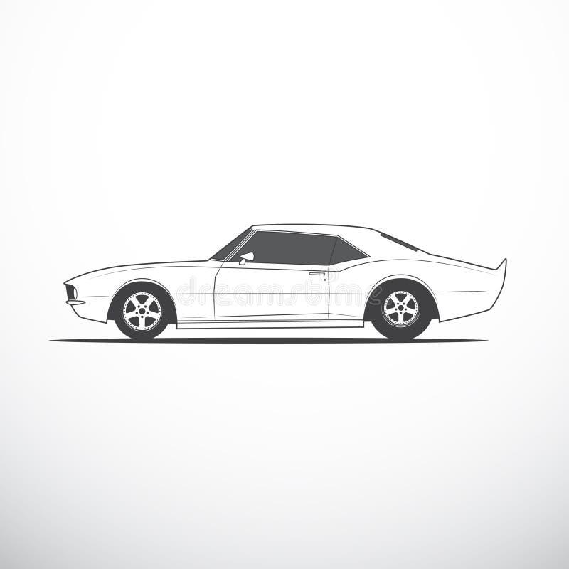 Διανυσματικό αμερικανικό αυτοκίνητο μυών Πλάγια όψη ελεύθερη απεικόνιση δικαιώματος