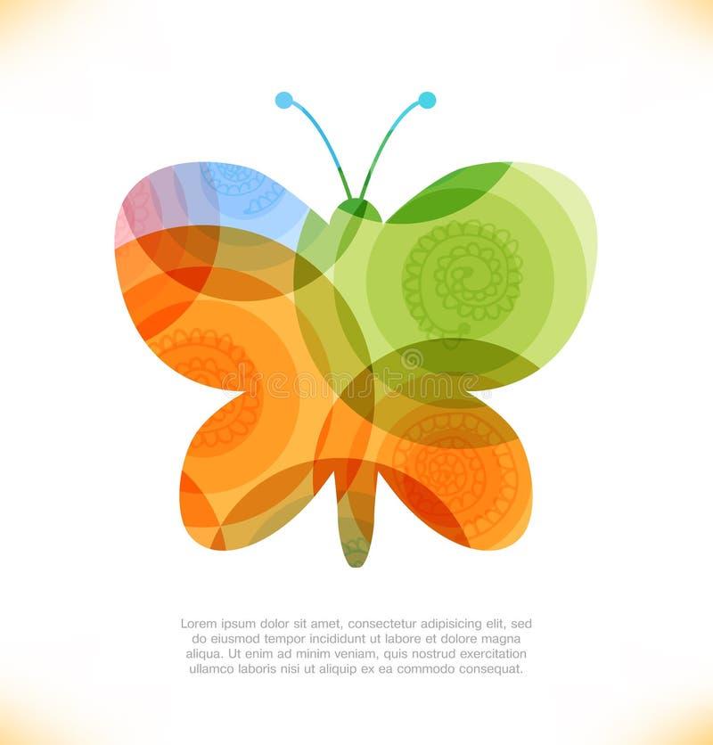 Διανυσματικό λαμπρό έμβλημα Beau νεράιδων πεταλούδων φαντασίας διανυσματική απεικόνιση