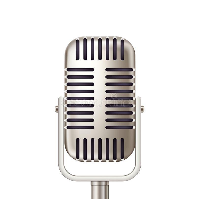 Διανυσματικό αναδρομικό μικρόφωνο, ραδιοφωνική εκπομπή καραόκε ελεύθερη απεικόνιση δικαιώματος