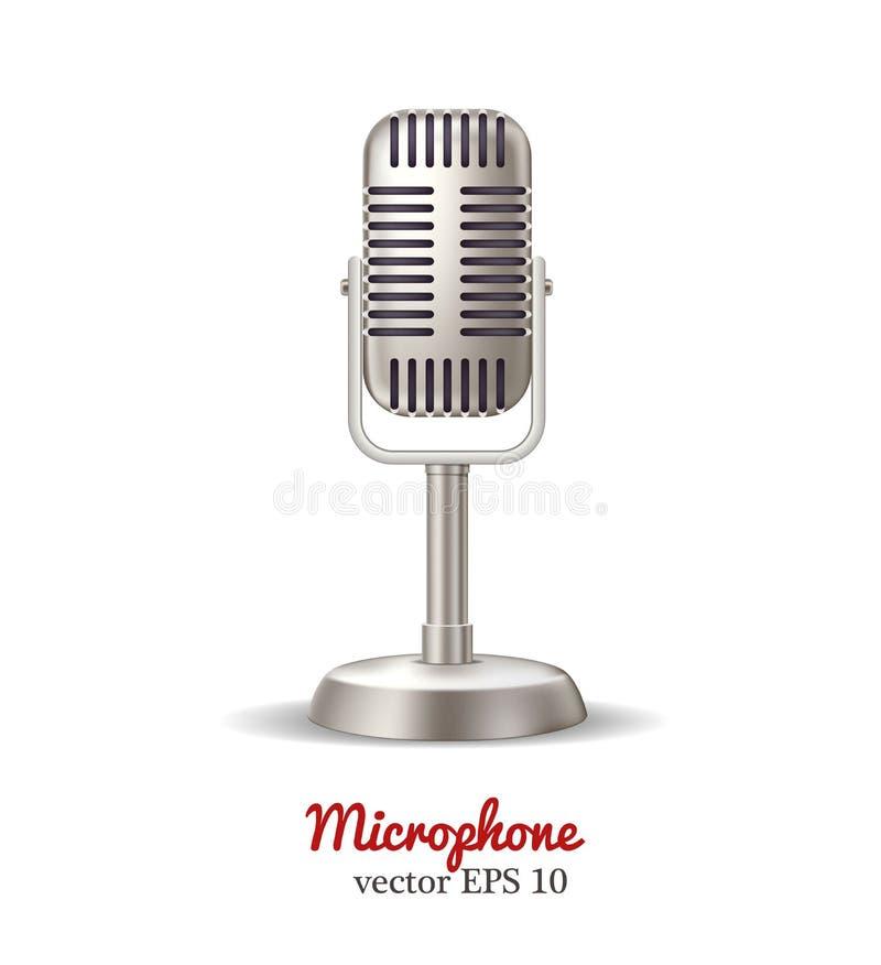 Διανυσματικό αναδρομικό μικρόφωνο, ραδιοφωνική εκπομπή καραόκε διανυσματική απεικόνιση