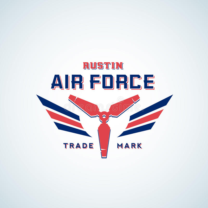 Διανυσματικό αναδρομικό ετικέτα Πολεμικής Αεροπορίας, σημάδι ή πρότυπο λογότυπων Έλικας αεροπλάνων με τα φτερά στα κόκκινα και μπ ελεύθερη απεικόνιση δικαιώματος