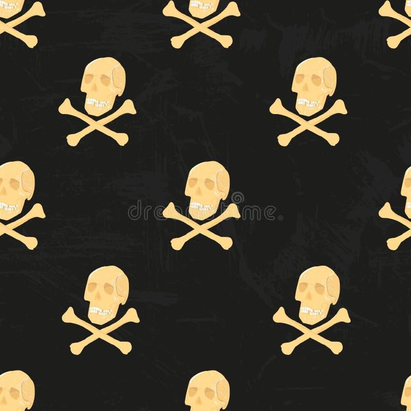 Διανυσματικό ανθρώπινο άνευ ραφής σχέδιο σκελετών με τα κρανία και crossbones Για την ταπετσαρία, wrappingpaper, τυπωμένη ύλη υφά ελεύθερη απεικόνιση δικαιώματος