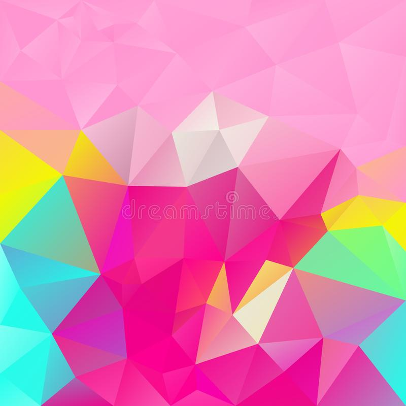 Διανυσματικό ανώμαλο τετραγωνικό υπόβαθρο πολυγώνων - χαμηλό πολυ σχέδιο τριγώνων - καθιερώνων τη μόδα καυτός ρόδινος, κυανός, ρο απεικόνιση αποθεμάτων