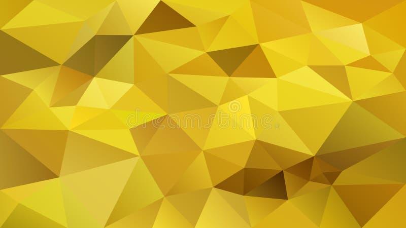 Διανυσματικό ανώμαλο polygonal υπόβαθρο - χαμηλό πολυ σχέδιο τριγώνων - θερμό χρυσό κίτρινο χρώμα διανυσματική απεικόνιση