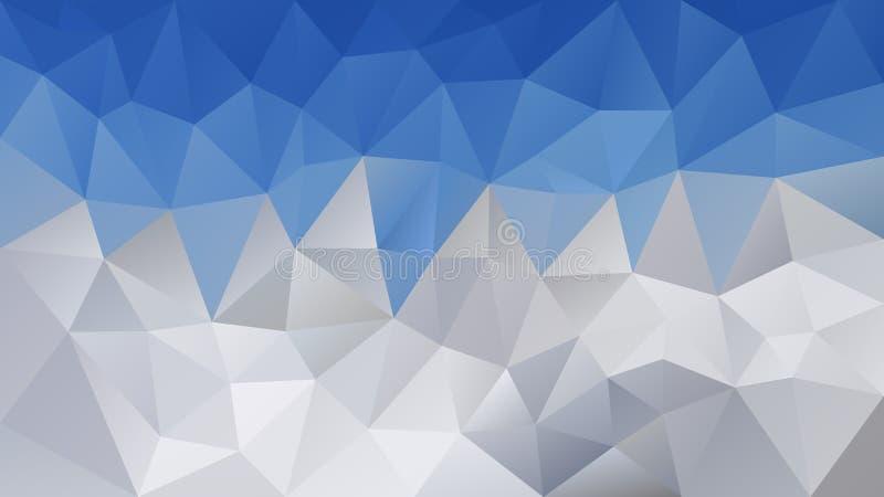 Διανυσματικό ανώμαλο polygonal υπόβαθρο - χαμηλό πολυ σχέδιο τριγώνων - μπλε ουρανού πέρα από τα χιονώδη άσπρα και γκρίζα χρωματι απεικόνιση αποθεμάτων
