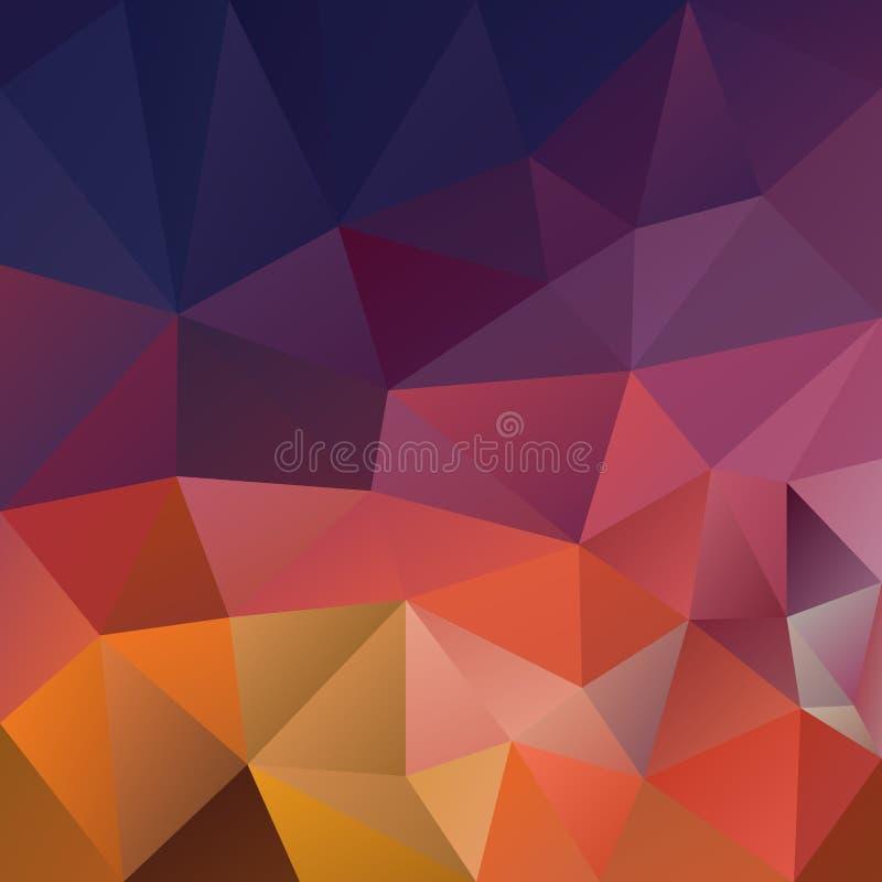 Διανυσματικό ανώμαλο polygonal υπόβαθρο - χαμηλό πολυ σχέδιο τριγώνων - μπλε πορφυρό ρόδινο πορτοκαλί χρώμα αυγής διανυσματική απεικόνιση