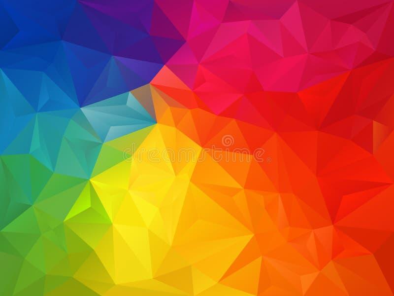 Διανυσματικό ανώμαλο υπόβαθρο πολυγώνων με ένα σχέδιο τριγώνων στο πλήρες πολυ χρώμα - φάσμα ουράνιων τόξων διανυσματική απεικόνιση