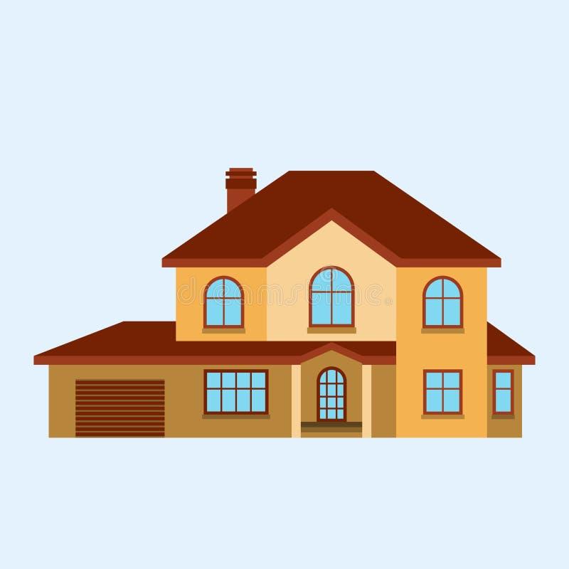 Διανυσματικό απεικόνισης μπροστινής άποψης σπιτιών οικοδόμησης αρχιτεκτονικής εγχώριας κατασκευής διαμέρισμα στεγών ιδιοκτησίας κ ελεύθερη απεικόνιση δικαιώματος