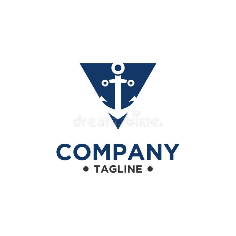 Διανυσματικό απλό ύφος σχεδίου λογότυπων αγκύρων απεικόνιση αποθεμάτων