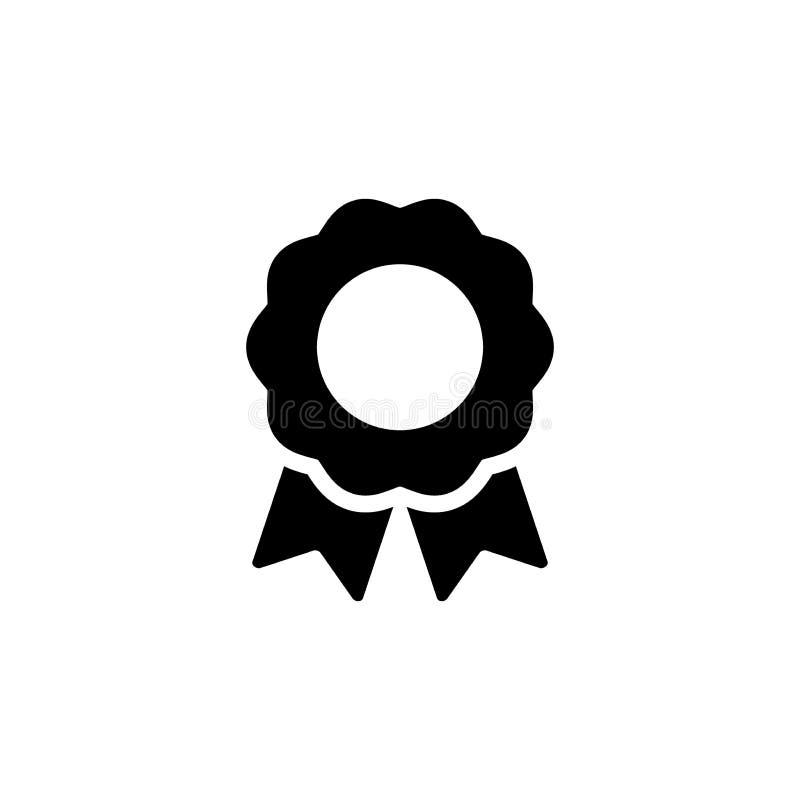 Διανυσματικό απομονωμένο ο Μαύρος εικονίδιο βραβείων διακριτικών Σύμβολο μεταλλίων πιστοποιητικών με την κορδέλλα απεικόνιση αποθεμάτων