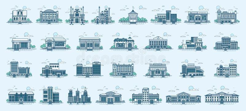 Διανυσματικό απομονωμένο σύνολο γραμμικό ύφος κτηρίων αρχιτεκτονικής εικονιδίων απεικόνιση αποθεμάτων