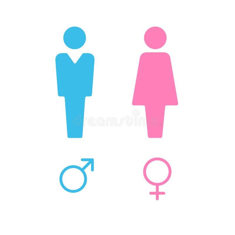 Διανυσματικό αρσενικό και θηλυκό σύνολο εικονιδίων Σημάδι τουαλετών κυρίων και κυρίας Είδωλο χρηστών ανδρών και γυναικών Επίπεδο  ελεύθερη απεικόνιση δικαιώματος