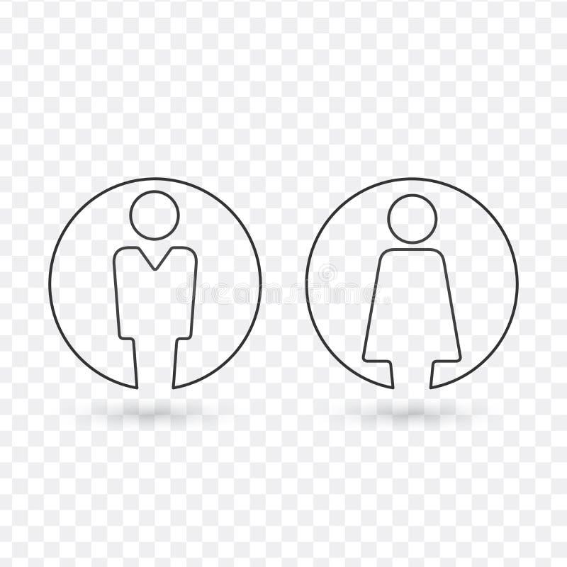 Διανυσματικό αρσενικό και θηλυκό σύνολο εικονιδίων Σημάδι τουαλετών κυρίων και κυρίας Είδωλο χρηστών ανδρών και γυναικών γραμμικό απεικόνιση αποθεμάτων