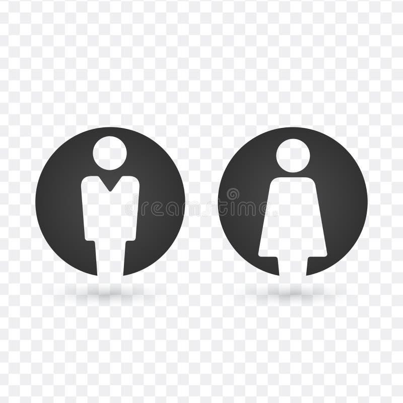Διανυσματικό αρσενικό και θηλυκό σύνολο εικονιδίων Σημάδι τουαλετών κυρίων και κυρίας διανυσματική απεικόνιση