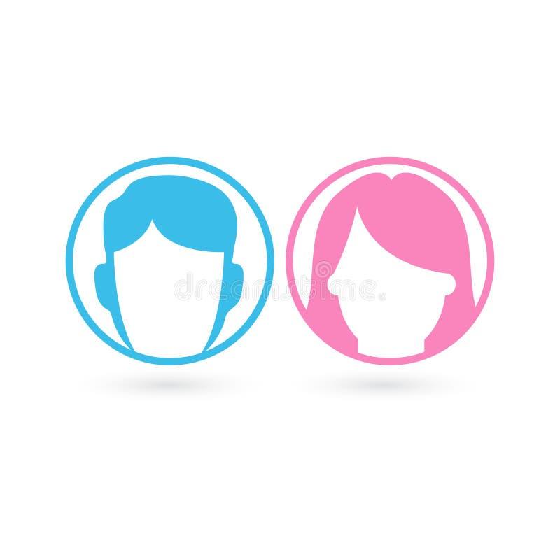 Διανυσματικό αρσενικό και θηλυκό σύνολο εικονιδίων Σημάδι τουαλετών κυρίων και κυρίας Είδωλο χρηστών ανδρών και γυναικών Επίπεδο  διανυσματική απεικόνιση
