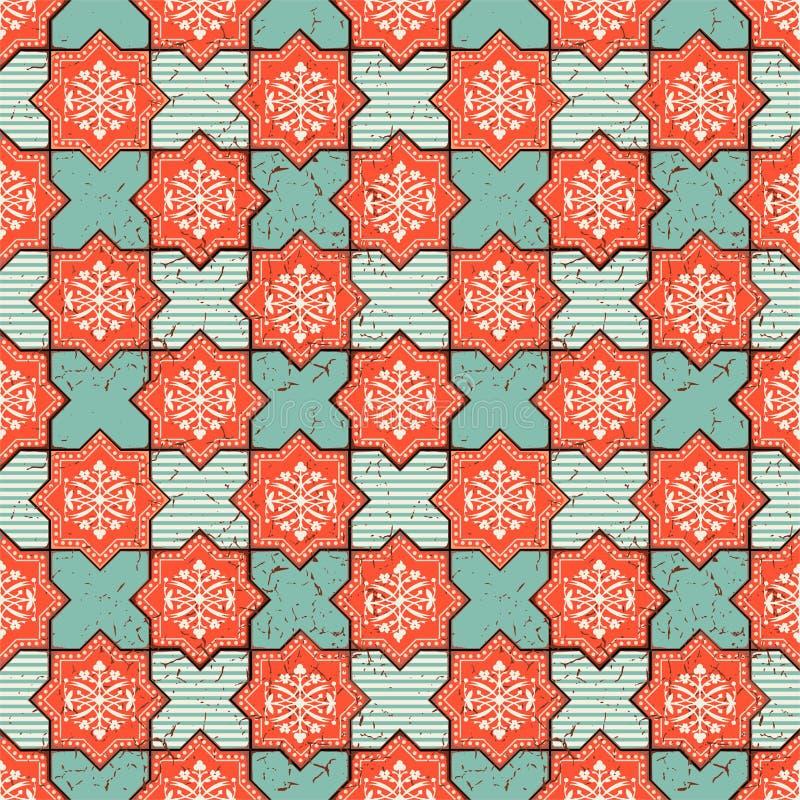 Διανυσματικό ασιατικό άνευ ραφής σχέδιο Ρεαλιστικά εκλεκτής ποιότητας μαροκινά, πορτογαλικά οκτάγωνα κεραμίδια ελεύθερη απεικόνιση δικαιώματος