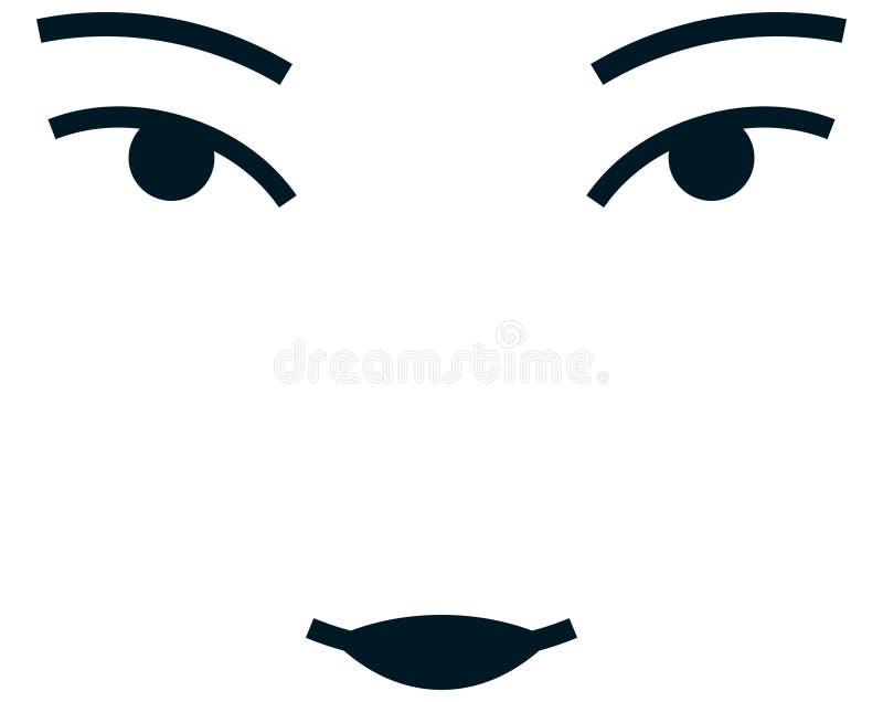 Διανυσματικό ασιατικό πρόσωπο κοριτσιών που απομονώνεται στο άσπρο υπόβαθρο ελεύθερη απεικόνιση δικαιώματος