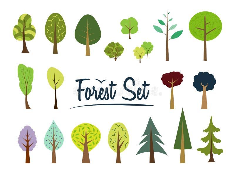 Διανυσματικό δασικό σύνολο Διαφορετικοί δέντρα και οι Μπους διανυσματική απεικόνιση