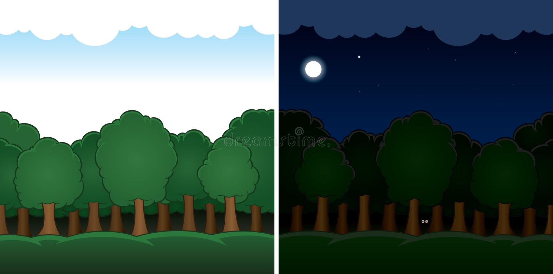 Διανυσματικό δασικό τοπίο κινούμενων σχεδίων μέρα και νύχτα διανυσματική απεικόνιση