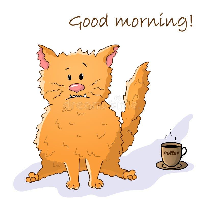 Διανυσματικό αστείο ζώο Χαριτωμένη τρελλή γάτα Κάρτα με τη φράση: Καλημέρα Γάτα με ένα φλιτζάνι του καφέ Απομονωμένο αντικείμενο  απεικόνιση αποθεμάτων