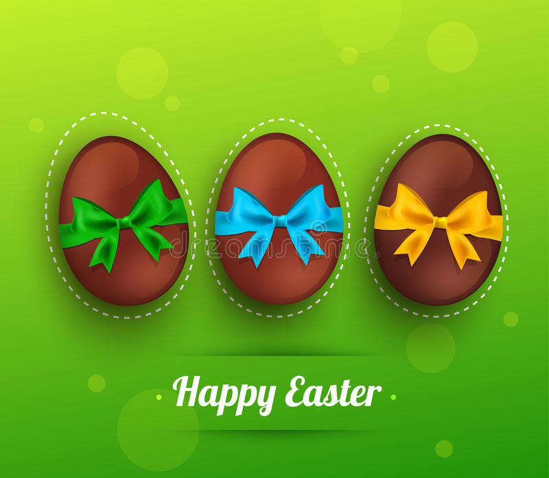 Διανυσματικό αυγό σοκολάτας Πάσχας με την κορδέλλα σε πράσινο διανυσματική απεικόνιση
