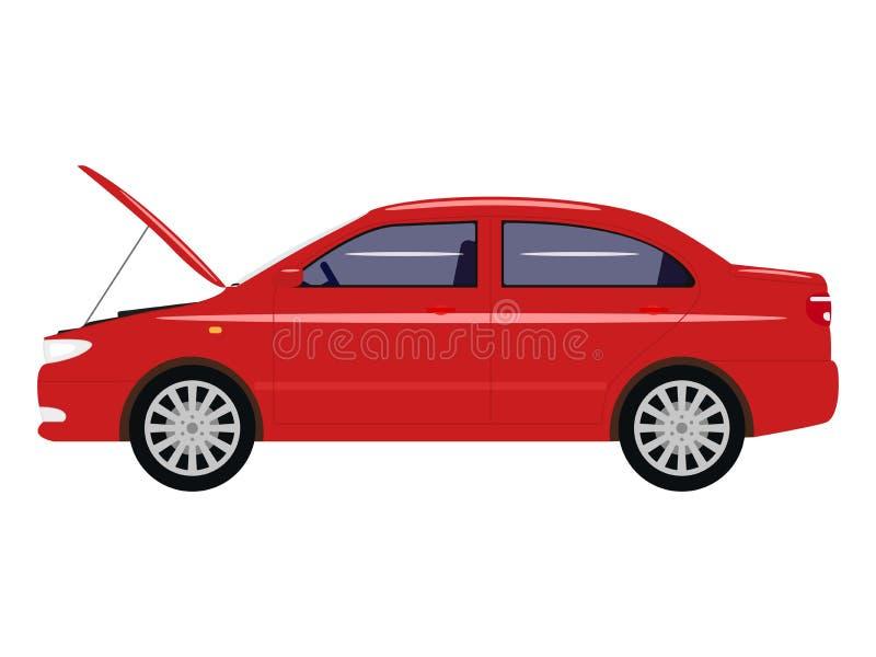 Διανυσματικό αυτοκίνητο κινούμενων σχεδίων απεικόνισης με μια ανοικτή κουκούλα ελεύθερη απεικόνιση δικαιώματος