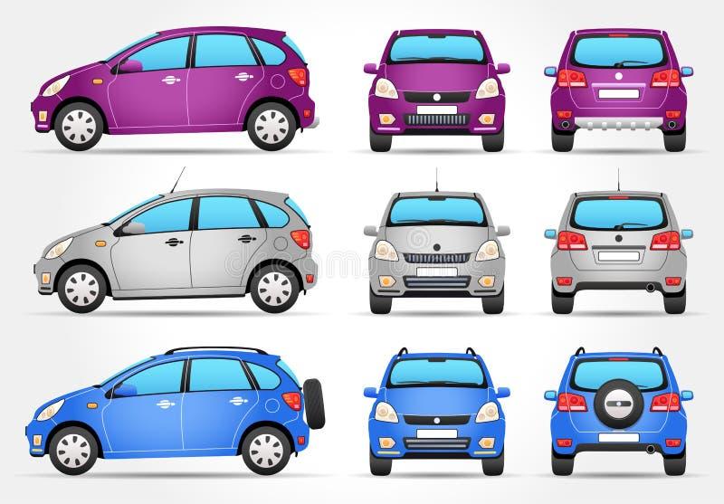 Διανυσματικό αυτοκίνητο Suv - πλευρά - μέτωπο - πίσω άποψη ελεύθερη απεικόνιση δικαιώματος