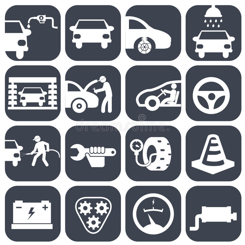 Διανυσματικό αυτόματο αυτοκίνητο και μηχανικά εικονίδια καθορισμένα σύνολο μερών αυτοκινήτων διανυσματικής απεικόνισης εικονιδίων διανυσματική απεικόνιση