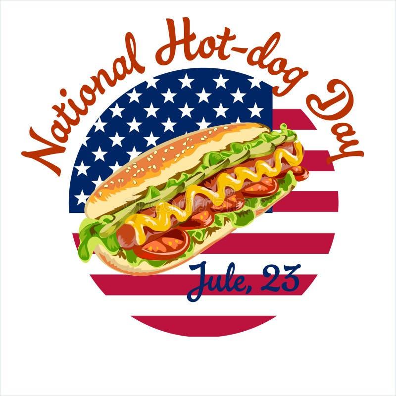 Διανυσματικό αφίσα ή έμβλημα καρτών για την εθνική ημέρα χοτ-ντογκ ελεύθερη απεικόνιση δικαιώματος