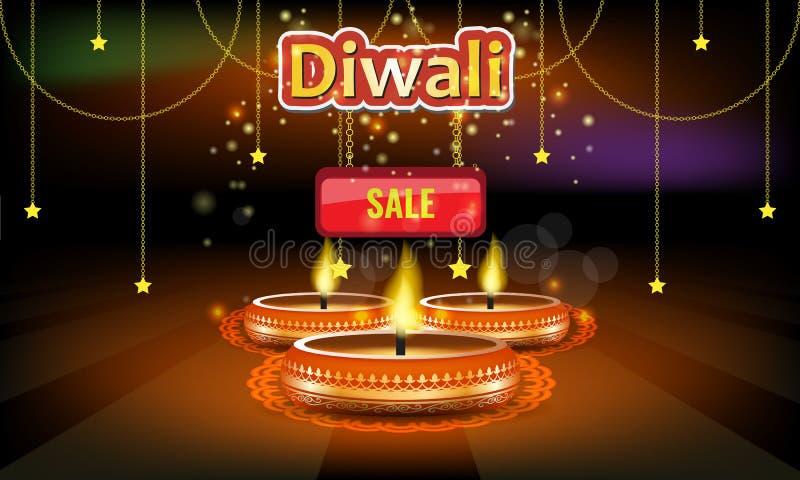 Διανυσματικό αφίσα πώλησης φεστιβάλ Diwali ή ιπτάμενο ή πρότυπο σχεδιαγράμματος διαφημίσεων διανυσματική απεικόνιση