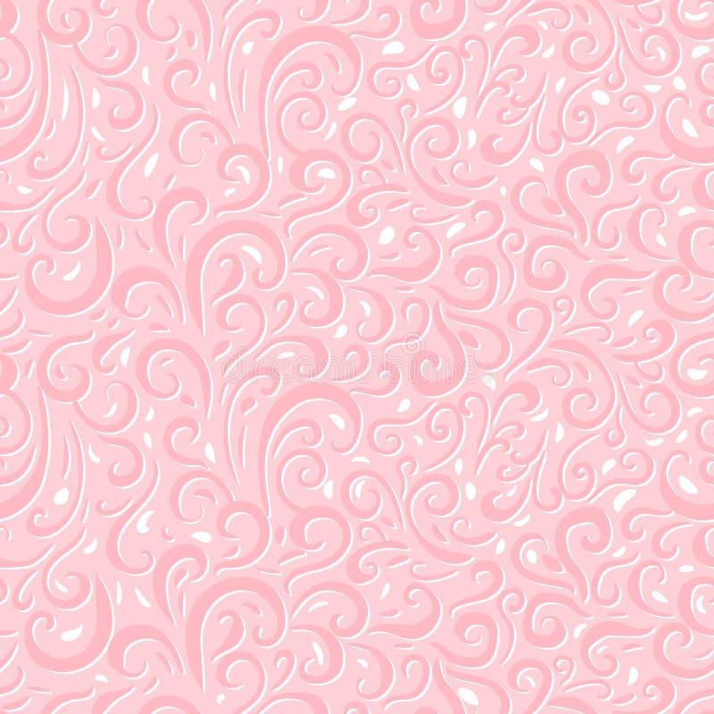 Διανυσματικό αφηρημένο άνευ ραφής σχέδιο γαμήλιων δαντελλών Χαριτωμένες συρμένες χέρι μπούκλες που απομονώνονται σε ένα ρόδινο υπ διανυσματική απεικόνιση