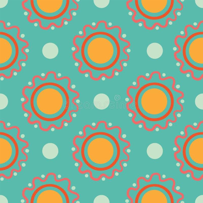 Διανυσματικό αφηρημένο άνευ ραφής σχέδιο μορφών κύκλων και σημείων Πόλκα απεικόνιση αποθεμάτων