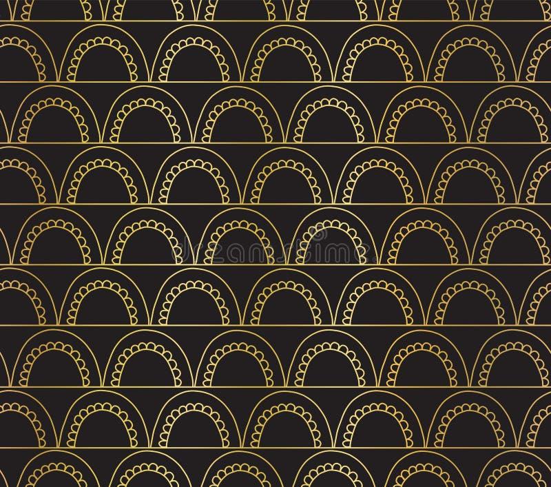 Διανυσματικό αφηρημένο άνευ ραφής χρυσό υπόβαθρο doodle φύλλων αλουμινίου γεωμετρικό Χρυσά τόξα σε ανοικτή επικοινωνία στο Μαύρο  απεικόνιση αποθεμάτων