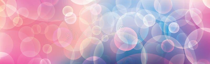 Διανυσματικό αφηρημένο έμβλημα με την επίδραση bokeh Οριζόντιο έμβλημα με το μοτίβο κομμάτων φωτισμού Ζωηρόχρωμο υπόβαθρο για τον απεικόνιση αποθεμάτων