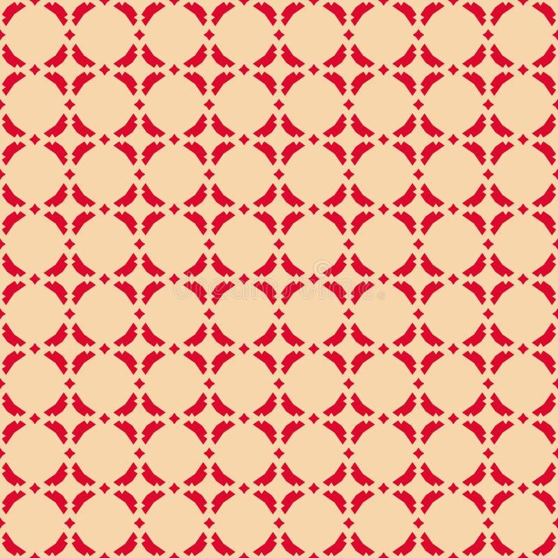 Διανυσματικό αφηρημένο γεωμετρικό άνευ ραφής σχέδιο με τα διαμάντια Κόκκινο και μπεζ χρώμα ελεύθερη απεικόνιση δικαιώματος