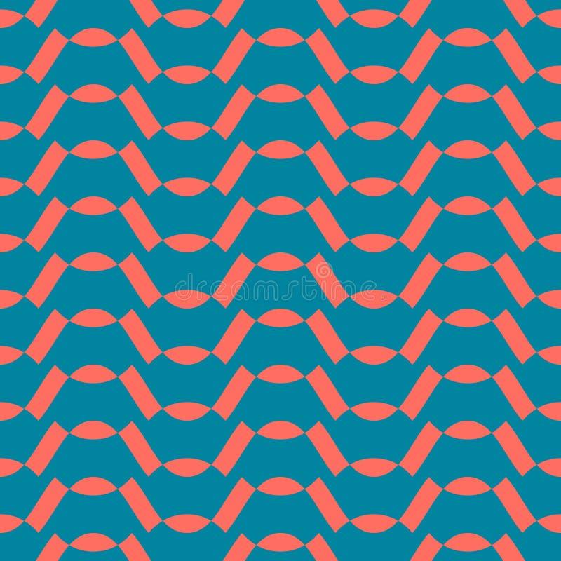 Διανυσματικό αφηρημένο γεωμετρικό άνευ ραφής σχέδιο Τυρκουάζ πράσινο και χρώμα κοραλλιών διανυσματική απεικόνιση