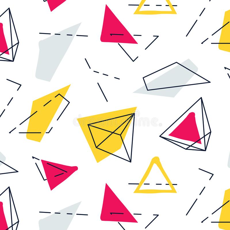 Διανυσματικό αφηρημένο γεωμετρικό σχέδιο Γραφική σύσταση καινοτομίας hipster μόδας Φοβιτσιάρης διακόσμηση της Μέμφιδας της δεκαετ ελεύθερη απεικόνιση δικαιώματος