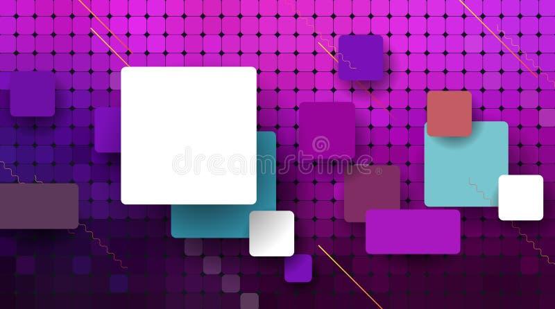 Διανυσματικό αφηρημένο εικονοκύτταρο ή γεωμετρικό υπόβαθρο σχεδίων Απεικόνιση των τετραγώνων με το μπλε θολωμένο υπόβαθρο κλίσης  ελεύθερη απεικόνιση δικαιώματος