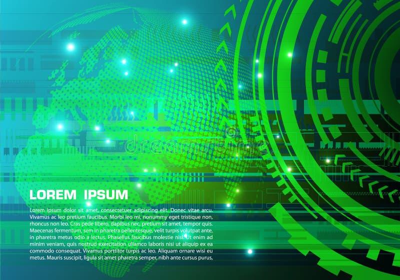 Διανυσματικό αφηρημένο ζωηρόχρωμο υπόβαθρο υψηλής τεχνολογίας με τη διαστιγμένη σφαίρα στο πράσινο χρώμα απεικόνιση αποθεμάτων