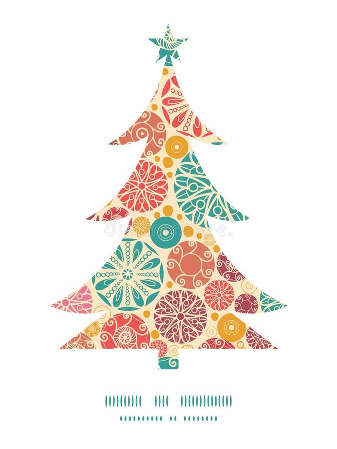 Διανυσματικό αφηρημένο διακοσμητικό χριστουγεννιάτικο δέντρο κύκλων ελεύθερη απεικόνιση δικαιώματος