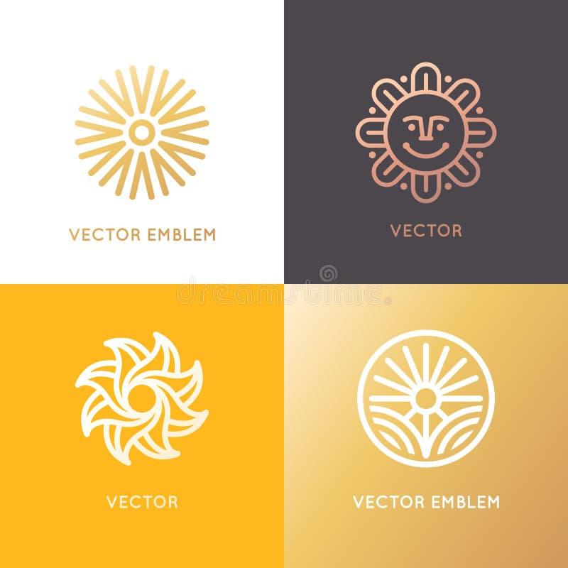 Διανυσματικό αφηρημένο πρότυπο σχεδίου λογότυπων στο καθιερώνον τη μόδα γραμμικό ύφος διανυσματική απεικόνιση