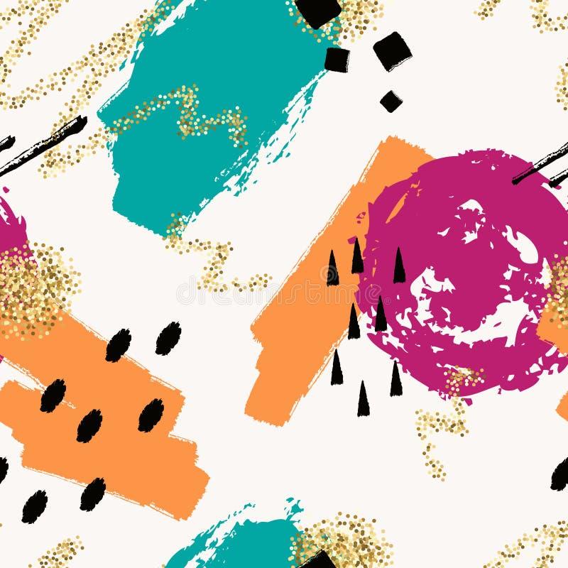 Διανυσματικό αφηρημένο συρμένο χέρι άνευ ραφής σχέδιο με τα γεωμετρικά και χρωματισμένα βούρτσα στοιχεία ελεύθερη απεικόνιση δικαιώματος