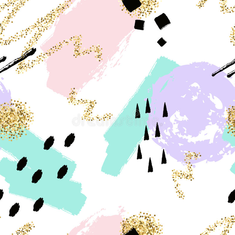 Διανυσματικό αφηρημένο συρμένο χέρι άνευ ραφής σχέδιο με τα γεωμετρικά και χρωματισμένα βούρτσα στοιχεία διανυσματική απεικόνιση