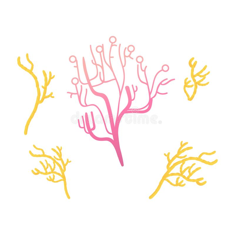 Διανυσματικό αφηρημένο σύνολο εικονιδίων κοραλλιών ζωηρόχρωμο που απομονώνεται διανυσματική απεικόνιση