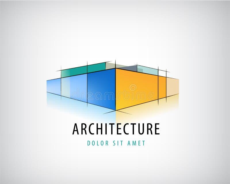 Διανυσματικό αφηρημένο τρισδιάστατο σημάδι αρχιτεκτονικής, λογότυπο σχεδίων οικοδόμησης, σχέδιο σπιτιών απεικόνιση αποθεμάτων