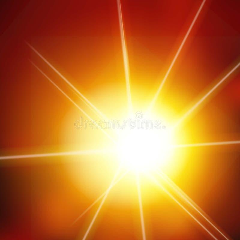 Διανυσματικό αφηρημένο υπόβαθρο με τον ήλιο και το φακό διανυσματική απεικόνιση