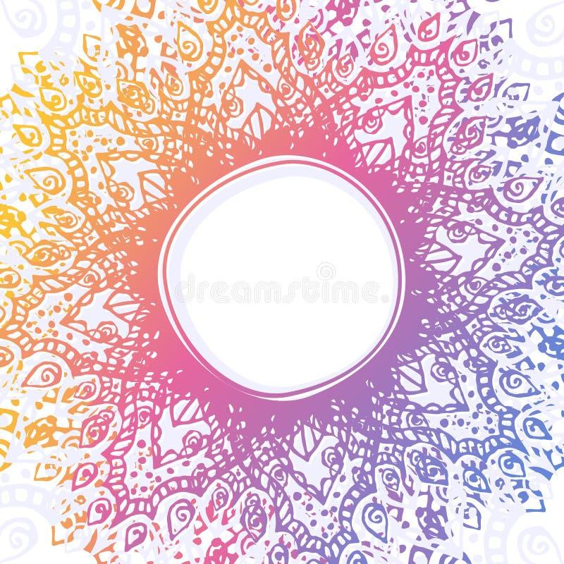 Διανυσματικό αφηρημένο υπόβαθρο με το χέρι που σύρεται γύρω από το διακοσμητικό πλαίσιο ουράνιων τόξων Κυκλική διακόσμηση ελεύθερη απεικόνιση δικαιώματος